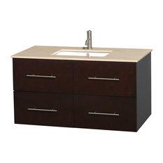 """42"""" Single Bathroom Vanity in Espresso, Marble Countertop, Undermount Sink"""