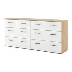Bowery Hill 8 Drawer Double Dresser In Oak And White