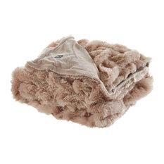 Kaikura Stitched Faux Fur Throw, Blush