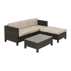 LA Outdoor Sectional and Coffee Table Set, Brown