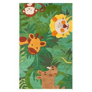 nuLOOM Hand Tufted Wool King of the Jungle Area Rug, Green, 6' Square