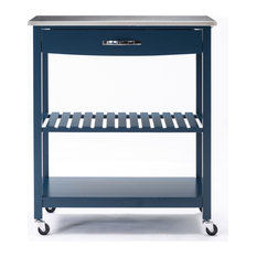 Holland Kitchen Cart With Stainless Steel Top, Navy Blue