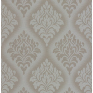 Orion Inverse Damask Wallpaper, Taupe