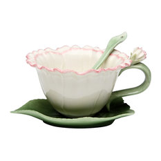 Carnation 2-Piece Cup and Saucer Set With Spoon