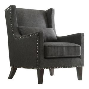 Loris Contemporary Linen Wingback Accent Chair, Dark Gray