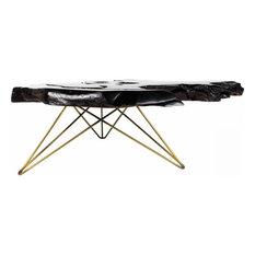 35.5-inch L Coffee Table Live Edge Solid Teak Wood Dark Finish Iron Hairpin Legs