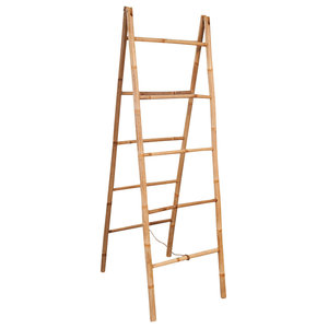 vidaXL Double Towel Ladder With 5-Rung Bamboo, 50x160 cm
