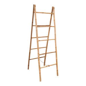 vidaXL Double Towel Ladder With 5-Rung Bamboo, 50x160 cm