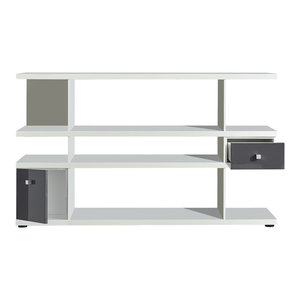 Lines Sideboard Shelf With Drawer and Cupboard, White and Grey Gloss