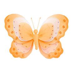 Butterfly Decorations Medium Orange Hanging Triple Layered Wall Ceiling Nursery