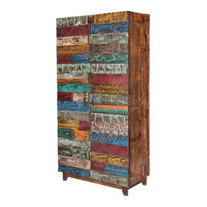 Chinese Distressed Blue Green Tall Iron Lock Armoire