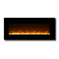 """Orion 50"""" Black Ventless Heater Electric Wall Mounted Fireplace, Crystal"""