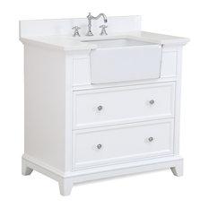 "Sophie 36"" Bathroom Vanity, Base: White, Top: Quartz"