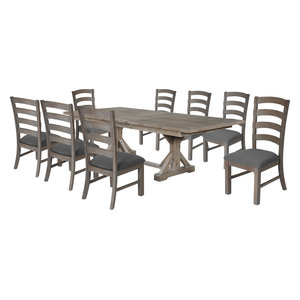 Hudson Weathered 9-Piece Dining Set, Gray