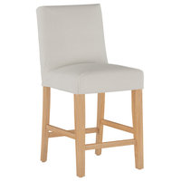 Slipcover Counter Stool, Oxford Stripe Taupe
