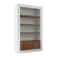 Lipari Walnut and White Bookcase