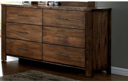 Exemplary Wooden Dresser In Transitional Style With Handle Pulls, Brown