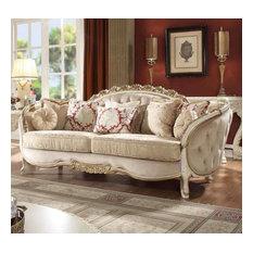 Traditional Style Luxury White Cream Carved Wood Finish Sofa