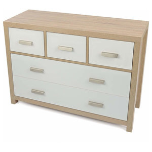 Contemporary Chest in Solid Oak Wood with 5 Drawers and Thick Legs, White Finish