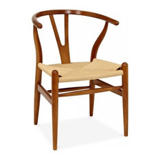 Wood Y Dining Chair Seat Natural Base Brown