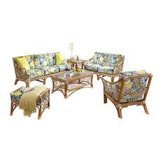 Bali 6-Piece Living Room Furniture Set Natural Martindale Stripe Maple Fabric