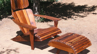 Adirondack Chair Lounger and Ottoman made from Reclaimed Mixed Harvest Redwood