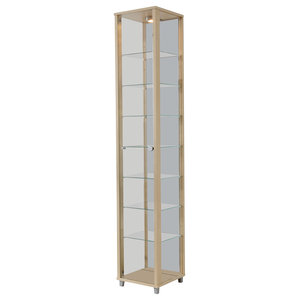 Vitrine Display Cabinet With LED, 1 Door, 7 Shelves, Maple