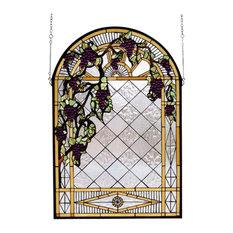 "24""Wx36""H Grape Diamond Trellis Stained Glass Window"