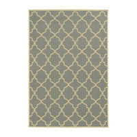 """Rhodes Indoor and Outdoor Lattice Gray and Ivory Rug, 5'3""""x7'6"""""""