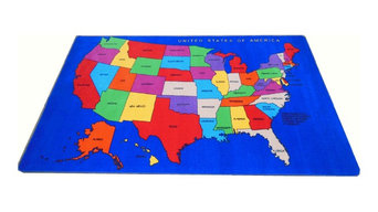 Usa Map #1060 7'x11' Children's Educational and Play Rug