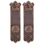Charleston Hardware Co. - Lorraine Dummy Entry Set, Oil Rubbed Bronze - Sold as a set: 2 doorknobs and 2 back plates. 2-1/4in knob diameter, 2-1/8in projection; 2-5/8in x 11in back plates. Includes dummy spindles.