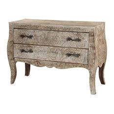Queen Anne Winter White Mango Wood Vanity 2-Drawer Sideboard