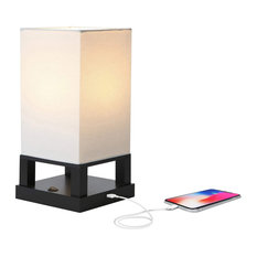 Brightech Maxwell Table, Nightstand, Desk & Table Lamp, Classic Black