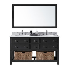 "60"" Double Sink Bathroom Vanity With Carrara Marble Top, Baskets, and Mirror"