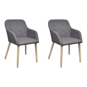 Fabric Dining Chair Set With Oak Legs, Dark Grey, Set of 2