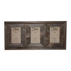 "Crockett Reclaimed Rustic Barn Wood Triple Photo Frame, 4""x6"""