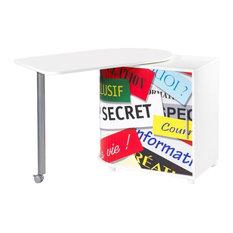 White Rotating Computer Desk, Top Secret