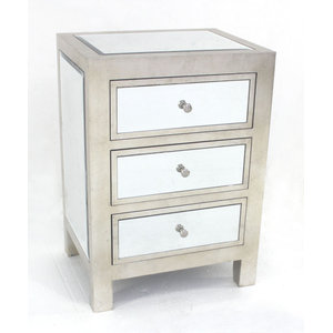 Modern Mirrored End Table with 3 Drawers