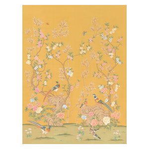 Chinoiserie Wall Mural Rafah, Golden, Large