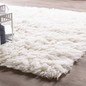 Genuine Eco Friendly Wool Flokati Shag Rug White 8' X 10'