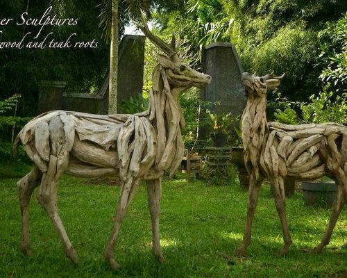 Driftwood Deer Sculptures   Garden Statues And Yard Art