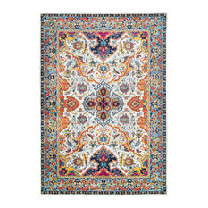 Traditional Florid Mardi Gras Area Rug, Ivory, 8'x10'