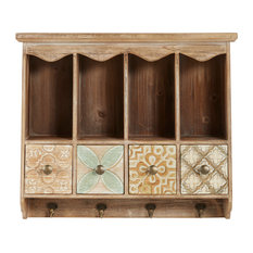 """Farmhouse Wooden Wall Shelf with Drawers and Hooks, 23"""" x 20"""""""