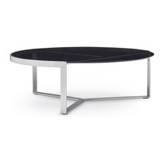 Modern Corbe Coffee Table, Smoked Glass With Brushed Stainless Steel Base