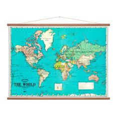 """World Map"" Wall Hanging, 100x135 cm"