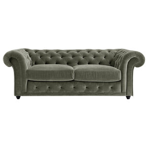 Churchill Chesterfield Sofa Bed, Sage, 2 Seater, 113x183 cm