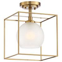 Cowen 1 Light Semi-Flushmount, Brushed Gold