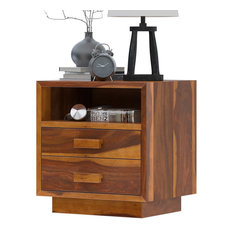 Brocton Rustic Solid Wood Nightstand With Two Drawers