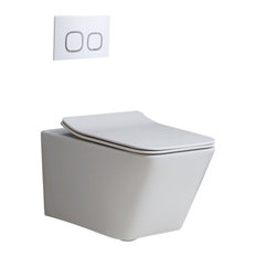 Homary Dual Flush Wall Hung Toilet in White 1.1/1.6 GPF Elongated Toilet Bowl, B