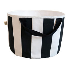 Small Striped Toy Bag, Black Handles